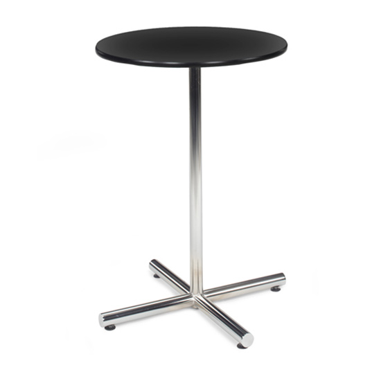 30″ Round Bar Table With Chrome Base - Black