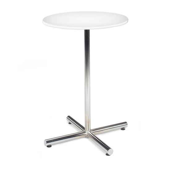30″ Round Bar Table With Chrome Base - White