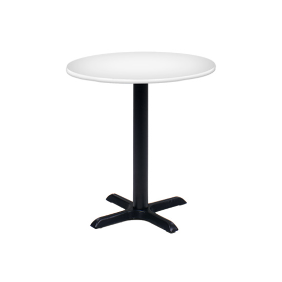 30″ Round Cafe Table - White with Black Base