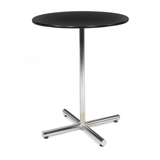 36″ Round Bar Table with Chrome Base - Black