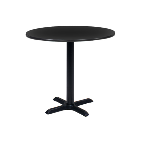 36″ Round Cafe Table - Black with Black Base