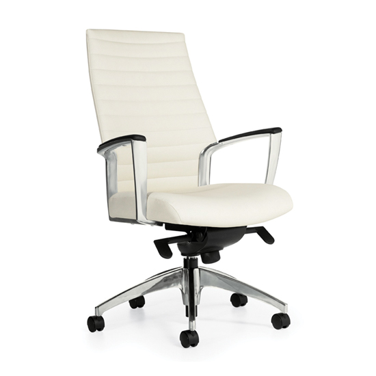 Accord High Back Leather Chair - White