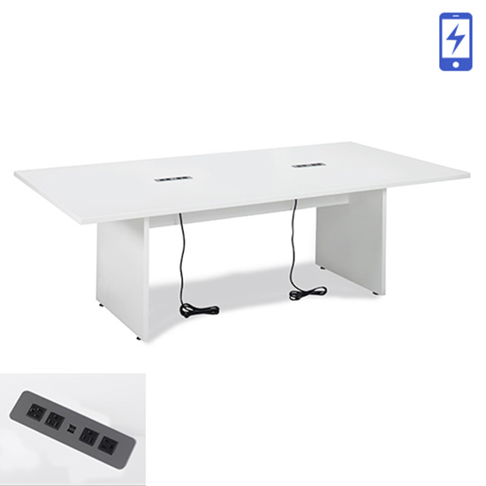 8′ White Conference Table - Charged
