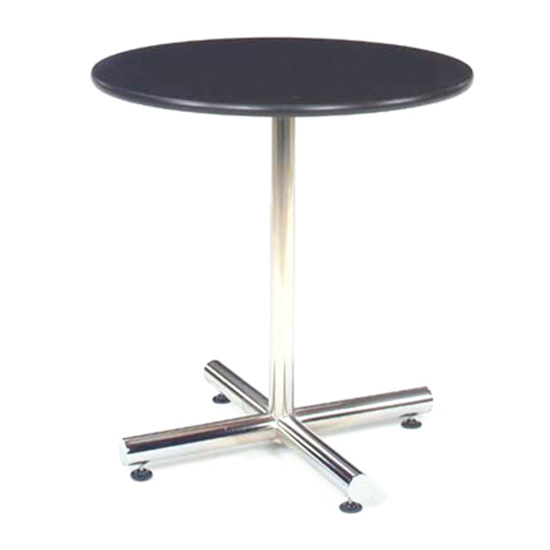 30″ Round Cafe Table - Black with Chrome Base