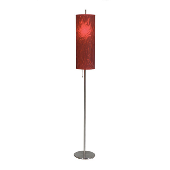 Brushed Steel Floor Lamp - Red Moire Shade