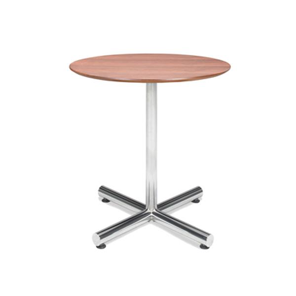 """32"""" Round Walnut Café Table with Chrome Base"""