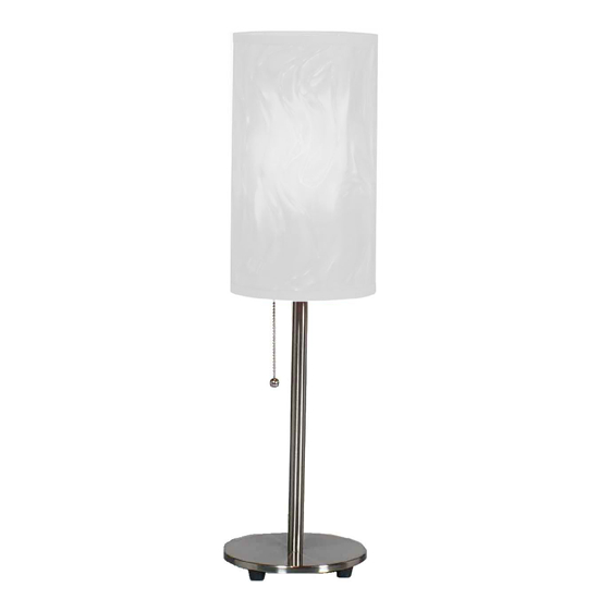 Brushed Steel Table Lamp - White Moire Shade